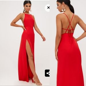 NWT PrettyLittleThing red high slit maxi dress